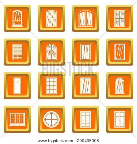 Plastic window forms icons set in orange color isolated vector illustration for web and any design
