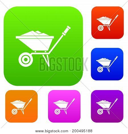 Wheelbarrow set icon in different colors isolated vector illustration. Premium collection