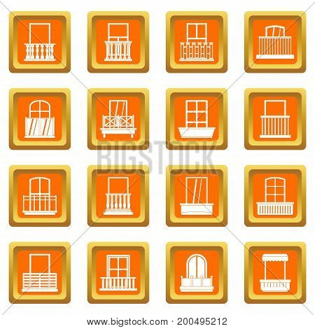 Window forms icons set in orange color isolated vector illustration for web and any design