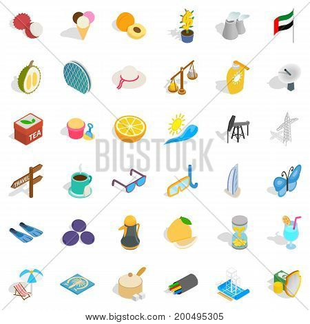 Tourism in uae icons set. Isometric style of 36 tourism in uae vector icons for web isolated on white background