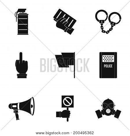 Human protester icon set. Simple set of 9 human protester vector icons for web isolated on white background