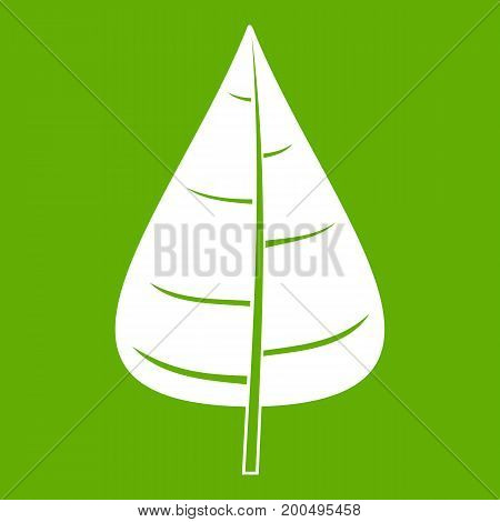Poplar leaf icon white isolated on green background. Vector illustration