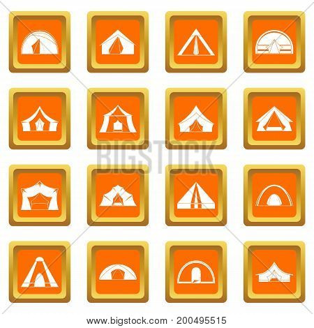 Tent forms icons set in orange color isolated vector illustration for web and any design