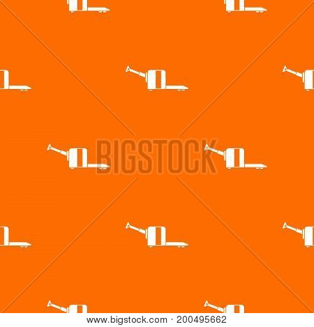 Cart on wheels pattern repeat seamless in orange color for any design. Vector geometric illustration