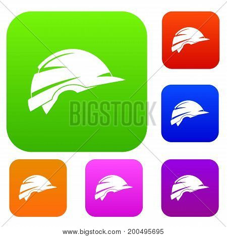 Construction helmet set icon in different colors isolated vector illustration. Premium collection