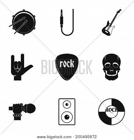 Rock music icon set. Simple set of 9 rock music vector icons for web isolated on white background
