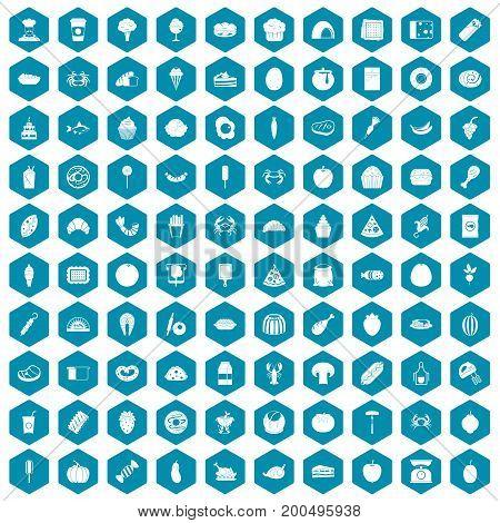 100 favorite food icons set in sapphirine hexagon isolated vector illustration