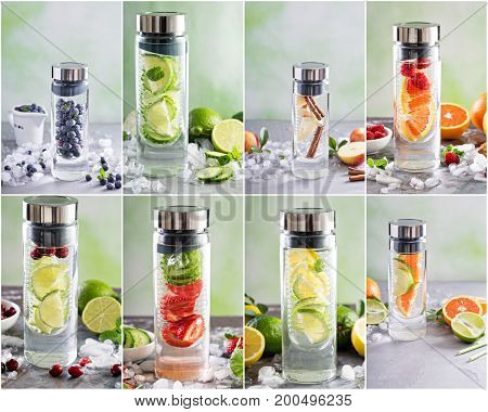 Variety of infused water collage in a glass bottle, fresh and healthy