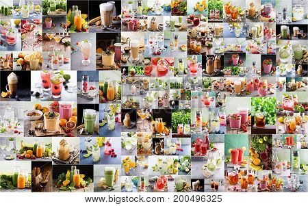 Large collage with various warm and hot delicious drinks