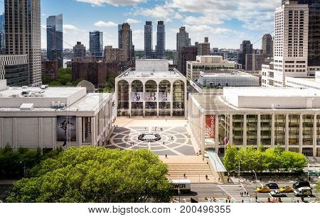 New York NY USA - May 14 2017. Panorama view of Lincoln Center Opera House