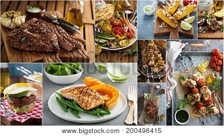 Grilled foods collage with meat, fish and vegetables