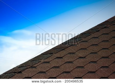 Roof pyramid tiles with sky background hd
