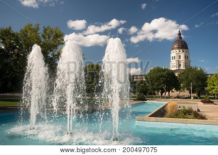 Topeka Kansas Capital Capitol Building Fountains Downtown City Skyline