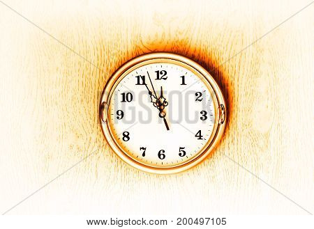 Vintage golden clock on the wall texture background hd