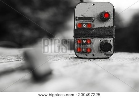 Cyberpunk power control red switch bokeh background hd