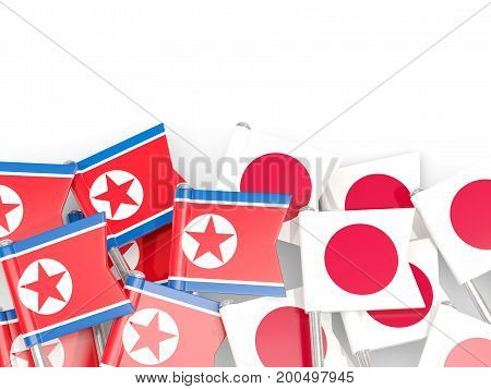 Flag Pins Of North Korea (dprk) And Japan Isolated On White