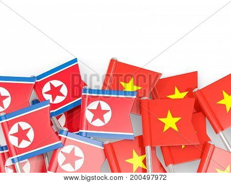 Flag Pins Of North Korea (dprk) And Vietnam Isolated On White