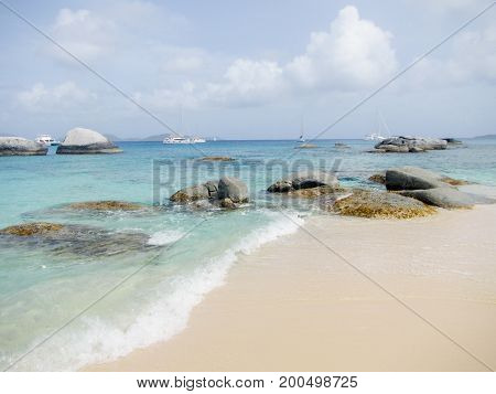 blue sky blue teal water horizon sea landscape with sailboats on island