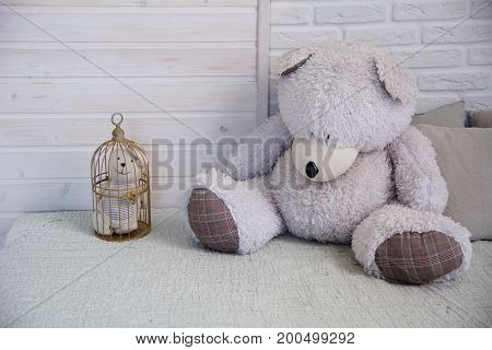 Teddy Bear Sitting On A Bed Next To A Caged Little Bear