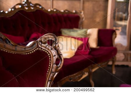 Luxurious Antique Red Sofa With Pillows