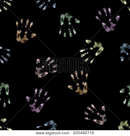 seamless hand drawn pattern of palm imprints drawn in color chalk isolated on black background