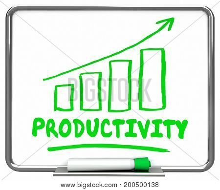 Productivity Output Efficiency Rising Increase Chart 3d Illustration