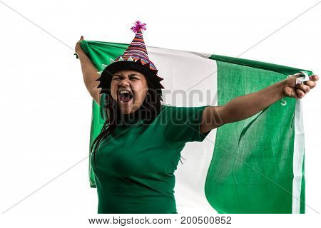 Nigerian fan holding the national flag
