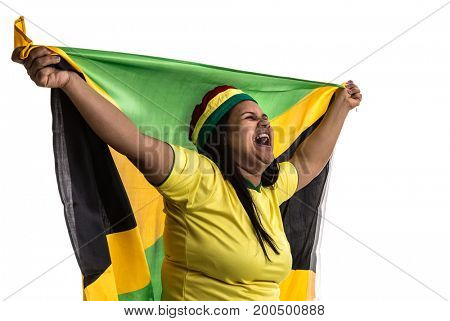 Jamaican fan holding the national flag