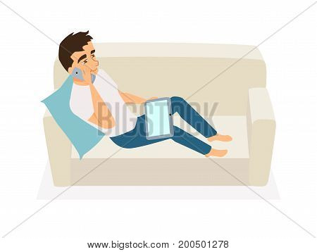 Man seating on couch, use laptop and talking on phone. Guy communicates, orders food, gets education online or works at home on sofa. Freelancer at home. Leisure