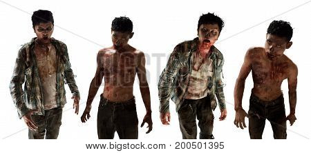 Scary zombies on white background halloween concept