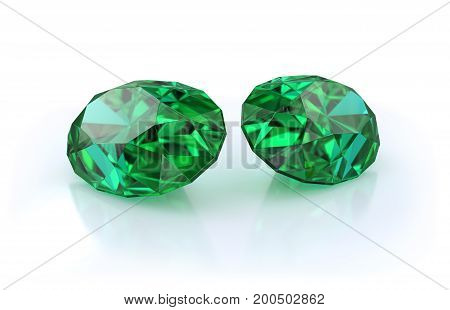Precious stones two large beautiful emeralds. 3d image. Light background.