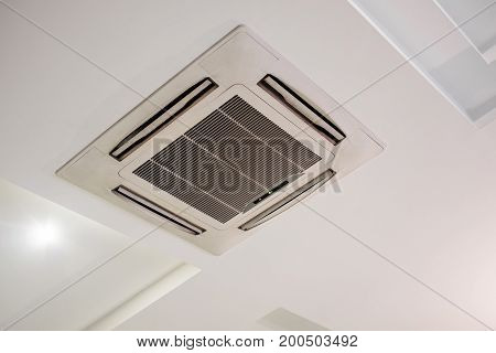 Ceiling air conditioner, on white modern ceiling