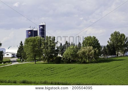 Mont Joli, Quebec - September, 17, 2012 -- Wide view of a farm with silos and a surrounding landscape of greenery near Mont Joli, Quebec on a sunny day with big clouds in September.