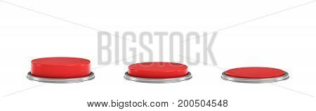 3d rendering of a set of three red round buttons in different stages of being pushed down. Machine controls. Red switch. Security button.