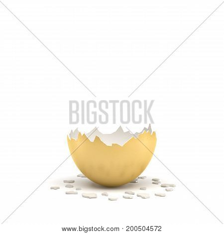 3d rendering of a large golden egg broken in half at the middle. Losing business. Loss of fortune. Reveal of secrets.