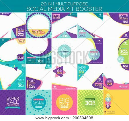 Multipurpose social media kit booster. Available in 20 alternate design suitable for your promotion