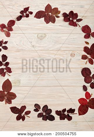 Flat lay frame of autumn crimson leaves on a light wooden background. Selective focus.
