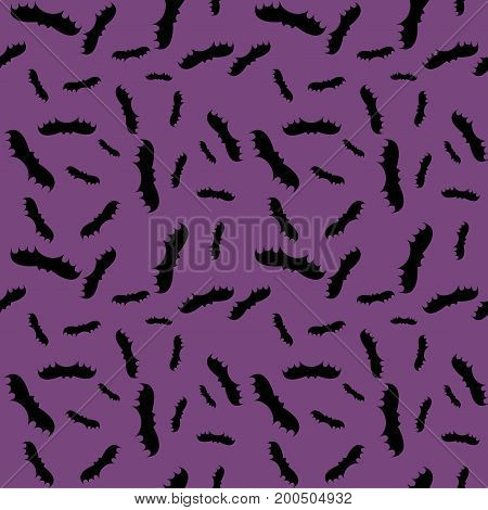 Seamless pattern violet background with black endless bat on halloween festive Vector illustration