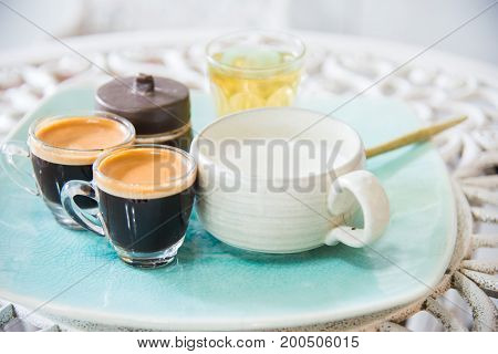 cup of tea milk coffee on wooden background.Milk tea chai latte refreshing organic healthy traditional hot beverage drink with natural aroma spices blend in porcelain cup on wooden table background