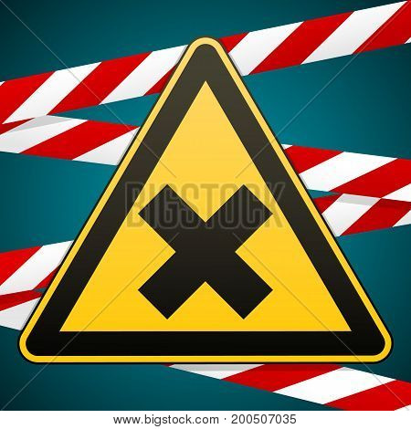 Safety sign. Caution - danger Harmful to health allergic irritant substances. Barrier tape. Vector illustration.