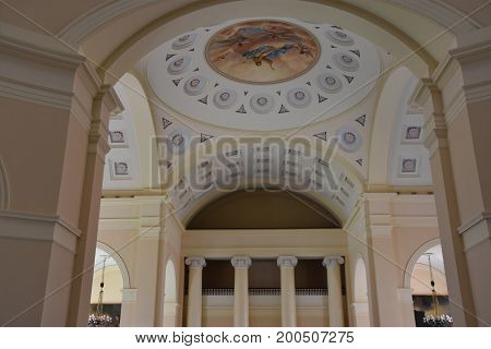 BALTIMORE, MARYLAND - JUL 2: Basilica of the National Shrine of the Assumption of the Blessed Virgin Mary, in Baltimore, Maryland, as seen on July 2, 2017. It is considered the masterpiece of Benjamin Henry Latrobe.