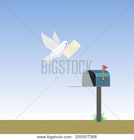 Cartoon White Dove With Letter