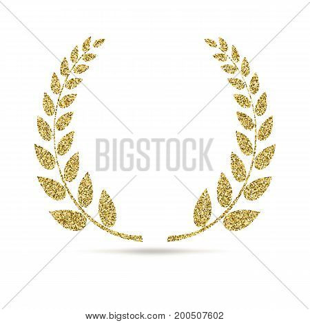 Laurel wreath icon with glitter effect, isolated on white background. Outline icon of laurel wreath. Symbols, vector pictogram. Symbol from golden particles dust.