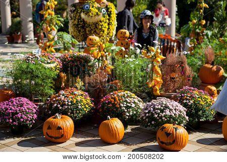 Halloween pumpkin head jack lantern., Halloween still life with pumpkins.