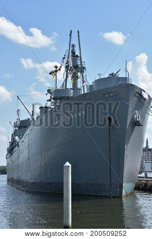 BALTIMORE, MARYLAND - JUL 2: USS John W Brown in Baltimore, Maryland, as seen on July 2, 2017. She is a museum ship and cruise ship berthed at Clinton Street Pier 1 in Baltimore Harbor in Maryland.