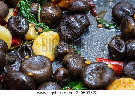 Close up of Stir-Fried Barometer Earthstars mushroom