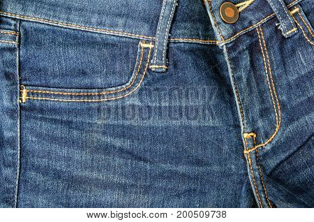 Close up jean zipper and pocket background