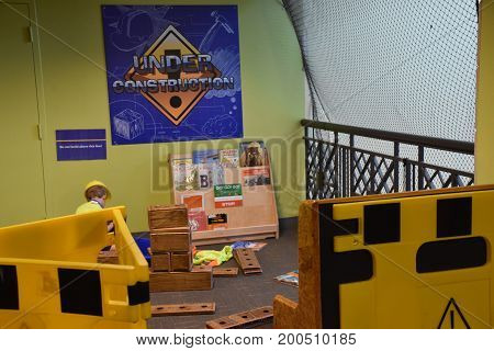 BALTIMORE, MARYLAND - JULY 3: Port Discovery Childrens Museum in Baltimore, Maryland, as seen on July 3, 2017. It is a non-profit institution located in the historic Fish Market building.