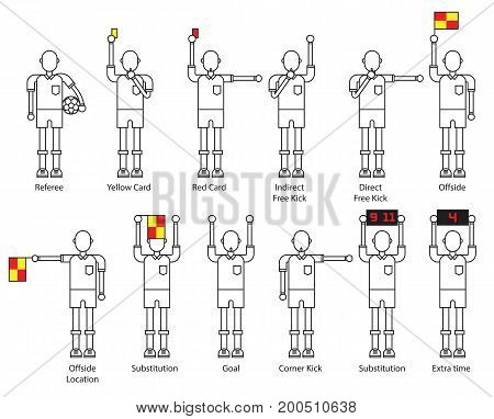 referee football signals. line modern icon set. soocer action on white background. vector illustration.