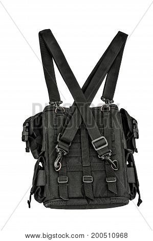 Sapper's Shoulder Bag With A Modular System To Carry Full Military Equipment, Black, Isolated - View